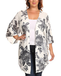 Black white floral print kimono plus medium 814530