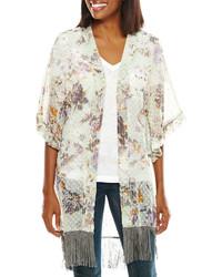 Asstd National Brand Floral Print Swiss Dot Kimono Wrap