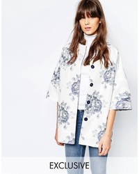Helene Berman Kimono Coat In Blue And White Large Floral