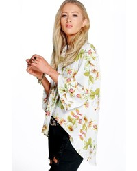 Boohoo Tanya Floral Curved Hem 34 Sleeve Shirt