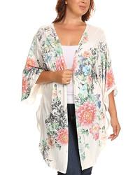 White Blue Floral Kimono Plus