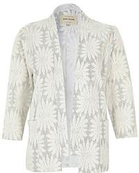 River Island White Glittery Floral Jacquard Kimono