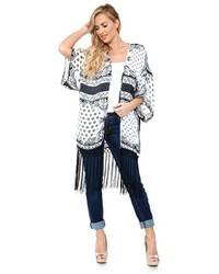 White mark print fringe open front kimono medium 814518