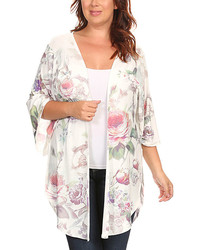 White purple floral print kimono plus medium 814531