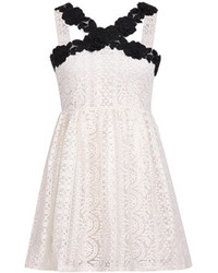 Choies white spaghetti strap floral crochet lace dress medium 89782