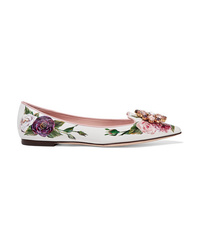 Dolce & Gabbana Embellished Floral Print Patent Leather Point Toe Flats