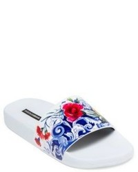 Dolce & Gabbana Maiolica Floral Print Leather Slides