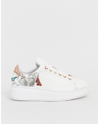 Ted Baker White Leather Floral Chunky Sole Trainers