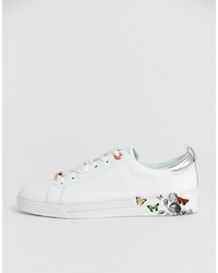 Ted Baker White Leather Floral Trainers