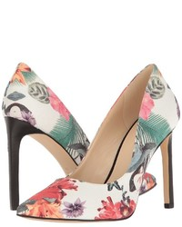 White Floral Leather Pumps