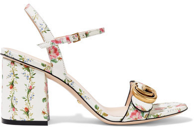 Gucci Floral Print Leather Sandals