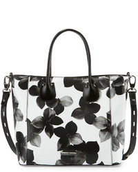White Floral Leather Tote Bag