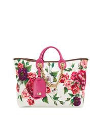 Dolce & Gabbana Peony Print Shopper Tote