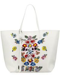 Alexander McQueen Skull Floral Embellished Shopper Tote Bag Whitemulti