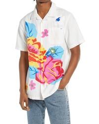 Vans Anaheim Floral Short Sleeve Button Up Cotton Linen Camp Shirt