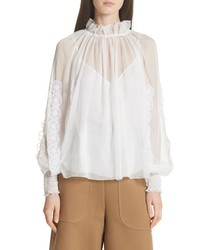 See by Chloe Floral Applique Puff Sleeve Blouse