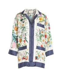 Gucci Floral Print Silk Foulard Shirt