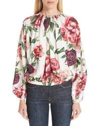 Dolce & Gabbana Peony Print Gathered Stretch Silk Blouse