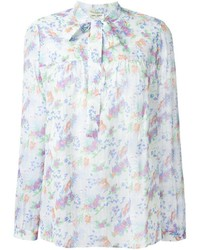Saint laurent floral pussy bow blouse medium 436909