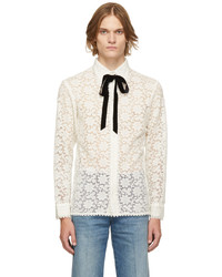 Gucci Off White Floral Macrame Shirt