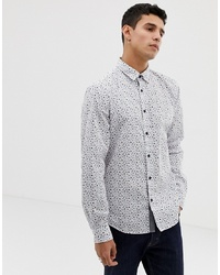 Esprit Slim Fit Shirt With Ditsy Flower In White