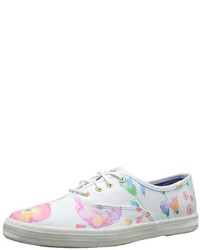 White Floral Low Top Sneakers