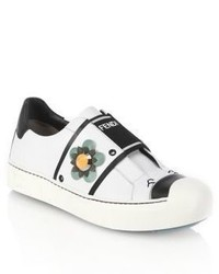 Fendi Flowerland Leather Sneakers