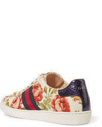 fae751d9fb9 ... Gucci For Net A Porter New Ace Floral Print Canvas Sneakers Off White  ...