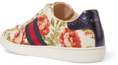 ec0138331b5 Gucci For Net A Porter New Ace Floral Print Canvas Sneakers Off White