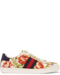 Gucci For Net A Porter New Ace Floral Print Canvas Sneakers Off White