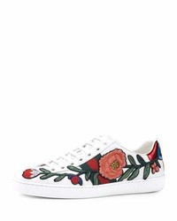 Gucci New Ace Floral Embroidered Low Top Sneaker Whitemulti