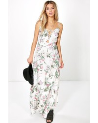 a52168f1099 ... Boohoo Aiana Floral Lace Up Maxi Dress