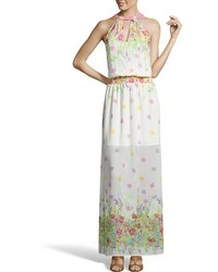 Wyatt White And Pink Floral Print Crepe Halter Maxi Dress