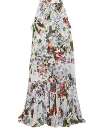 Alison ruffled floral print silk voile maxi skirt white medium 1196472