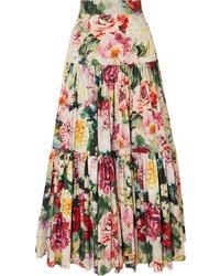 Dolce & Gabbana Tiered Ruffled Floral Print Cotton Poplin Maxi Skirt
