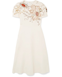 Valentino Embellished Wool And Crepe Dress