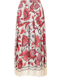 Gucci Pleated Floral Print Silk Twill Skirt