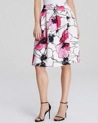 Aqua Skirt Floral Scuba Midi