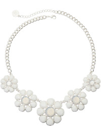 Liz Claiborne Silver Tone White Flower Necklace