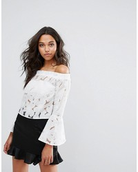 Boohoo Floral Burn Out Bardot Top With Flare Sleeve