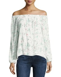 Chantel floral print off the shoulder top white pattern medium 3717464