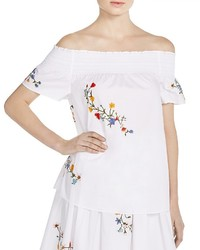 Tory Burch Eliza Embroidered Floral Off The Shoulder Top