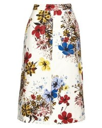 Carmel flora print cotton canvas midi skirt medium 382020
