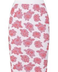 Nina Ricci Floral Jersey Jacquard Pencil Skirt