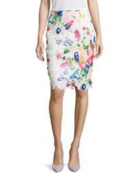 Neiman Marcus Floral Lace Pencil Skirt Whitemulti