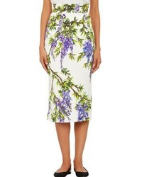 Dolce & Gabbana Floral Mid Length Pencil Skirt White