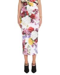 Dolce & Gabbana Floral Print Jersey Pencil Skirt