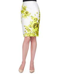 Lela Rose Floral Print Sateen Pencil Skirt