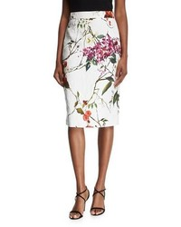 Floral printed matelasse pencil skirt medium 5218714