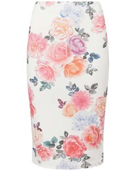 Dorothy Perkins Ivory Floral Pencil Skirt